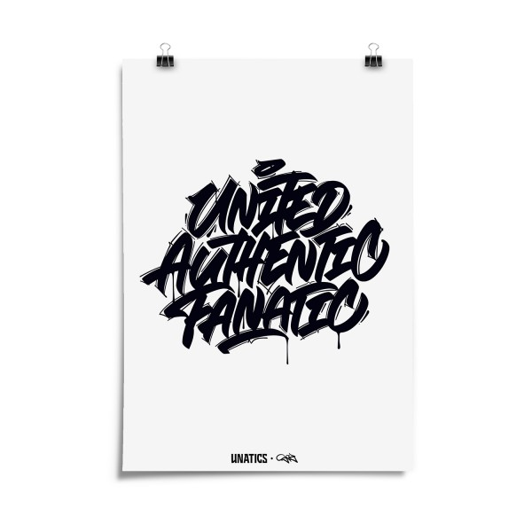 Poster 'United Authentic Fanatic' white