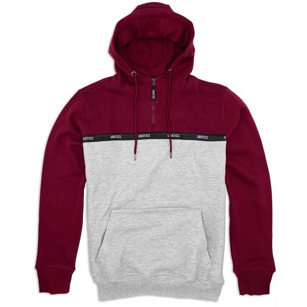 Half Zip Hoodie 'Taping' burgundy grey